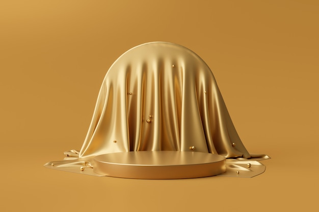 Suporte dourado do fundo do produto ou pedestal do pódio no display de publicidade de luxo com cenários em branco. renderização 3d.