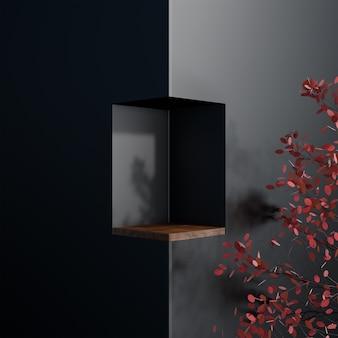 Suporte em forma de cubo quadrado simples luxo preto abstrato em árvore e piso de madeira
