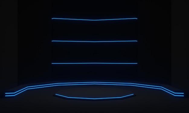 Suporte futurista preto com pódio científico de luzes de néon azuis