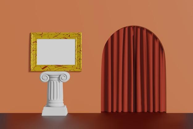 Suporte horizontal da cor do ouro da moldura para retrato da maquete do vintage em uma coluna em um fundo coral da parede. interior multicolorido abstrato dos desenhos animados com arco. renderização em 3d