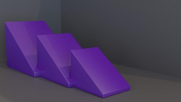 Suporte ou plataforma do triângulo 3d para a exposição do produto