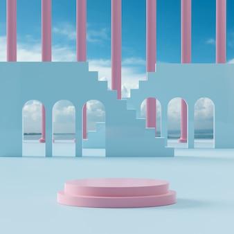 Suporte para palco de pódio em fundo de céu azul nublado para colocação de produto renderização em 3d