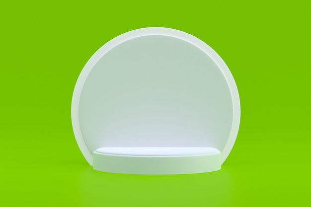 Suporte para produtos, podium minimal on green para apresentação de produtos cosméticos.