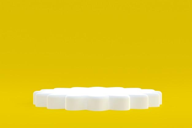 Suporte para produtos, podium mínimo em fundo amarelo para apresentação de produtos cosméticos.