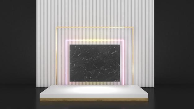 Suporte retangular branco na aba traseira branca com moldura dourada néon lightmock up pódio
