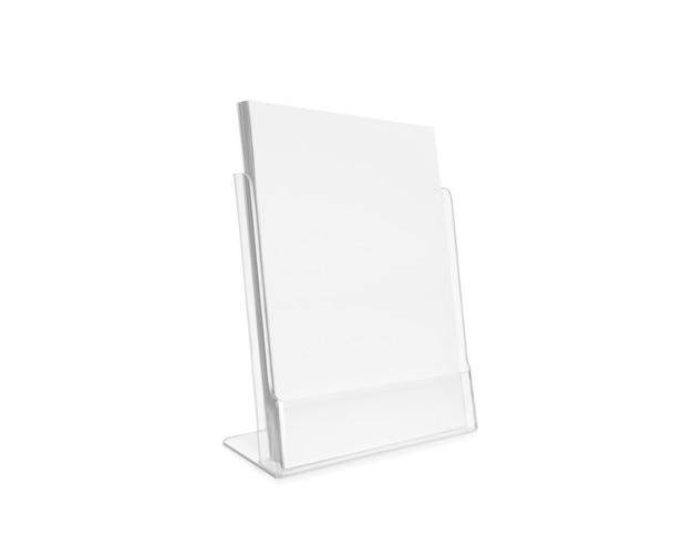 Suporte transparente plástico de vidro em branco panfleto isolado.