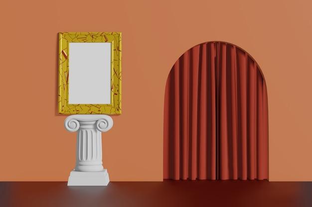 Suporte vertical da cor do ouro da moldura para retrato da maquete do vintage em uma coluna em um fundo coral da parede. interior multicolorido abstrato dos desenhos animados com arco. renderização em 3d