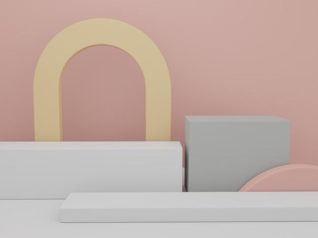 Suportes geométricos mínimos de renderização em 3d com fundo de plataformas de exibição de produtos para beleza
