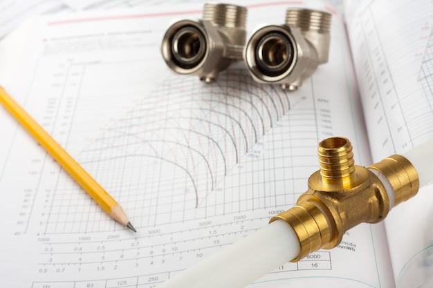 Suprimentos para encanamento - tubos, acessórios, documentação e válvulas