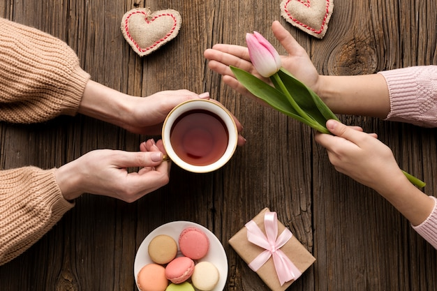 Surpresa de vista superior para a celebração do dia das mães