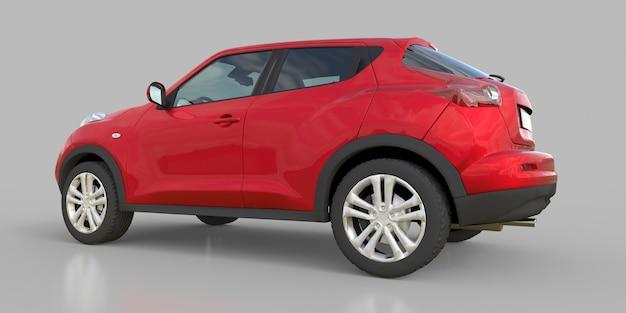 Suv crossover subcompacto metálico vermelho. renderização 3d.