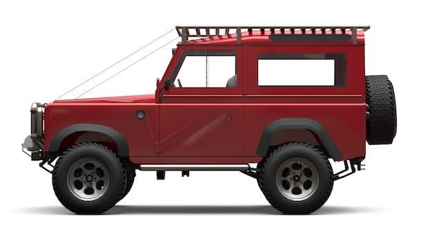 Suv pequeno velho vermelho ajustado para rotas e expedições difíceis. renderização em 3d.