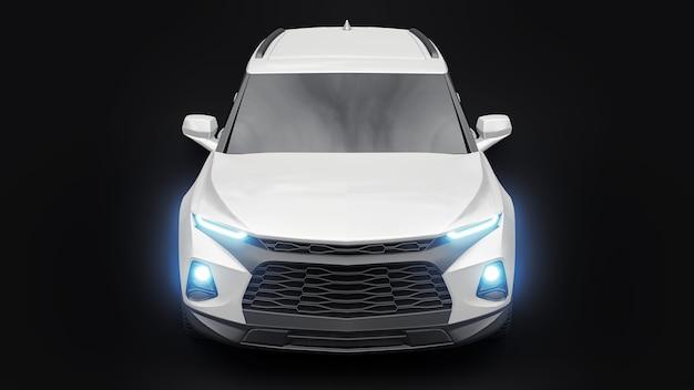 Suv ultramoderno com um design cativante e expressivo para jovens e famílias em um carro preto isolado