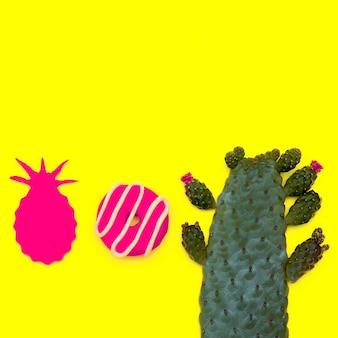 Sweet candy mix donut e decoração art. flatlay mínimo