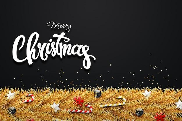 T cartão de natal, galhos verdes de uma árvore de natal, decorados com bolas, estrelas, doces e flocos de neve