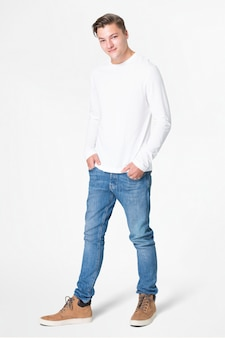 T-shirt branca de manga comprida masculina básica de corpo inteiro