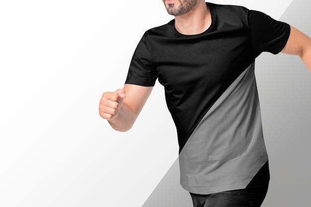 T-shirt masculina preta e cinza