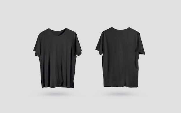 T-shirt preta em branco frente e verso vista, design