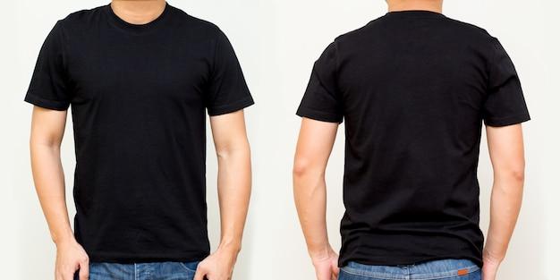 T-shirt preta frente e verso, mock up modelo para design de impressão