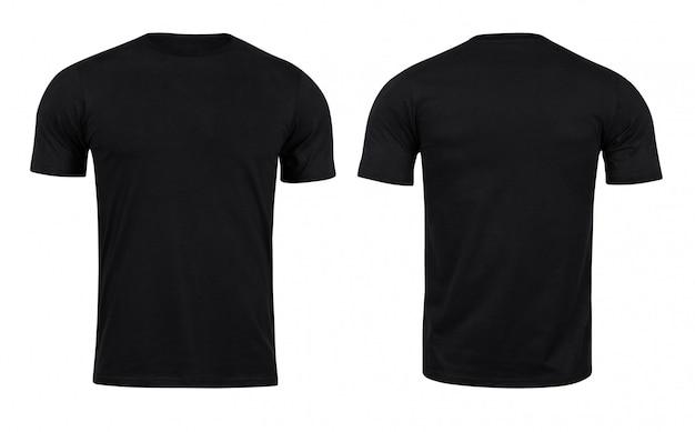 T-shirts pretas à frente e atrás