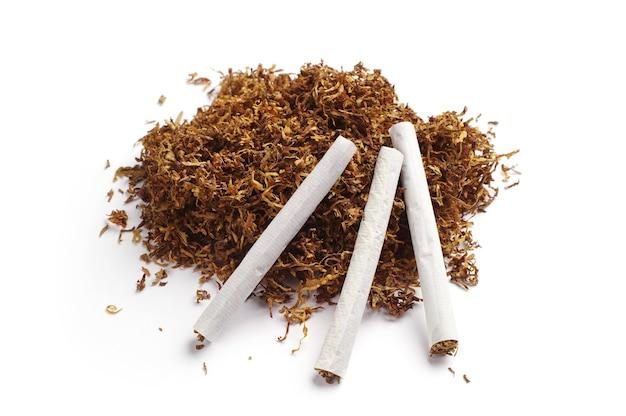 Tabaco e cigarros enrolados à mão em fundo branco