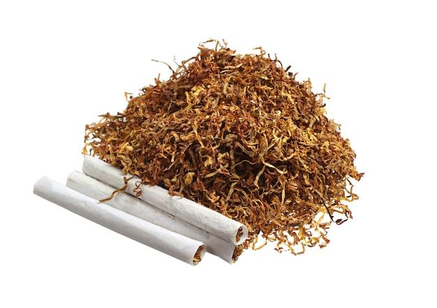 Tabaco e cigarros enrolados isolados no fundo branco