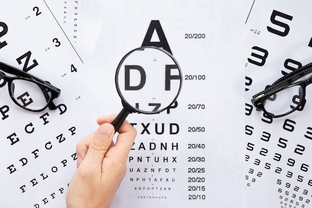 Tabela de alfabeto e números da vista superior para consulta óptica