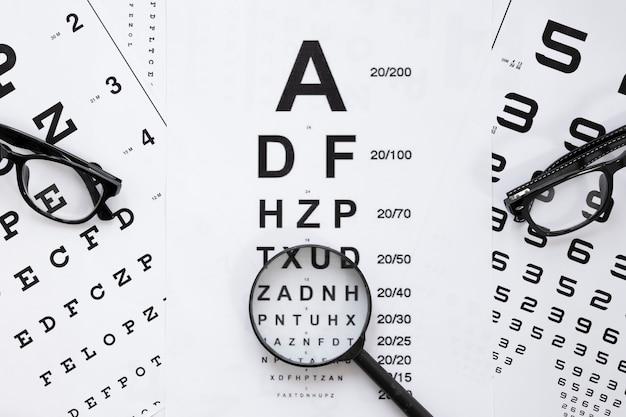Tabela de alfabeto e números para consulta óptica