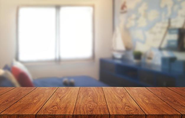 Tabela de madeira na decoração moderna da sala da casa.