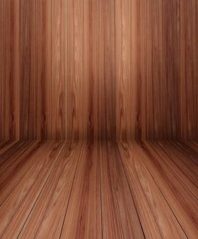 Tabela de madeira na frente do fundo de madeira do borrão da parede.