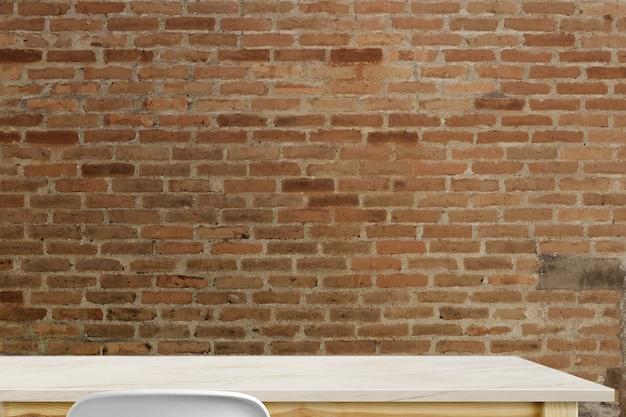 Tabela de mármore superior vazia e parede de tijolo vermelho.