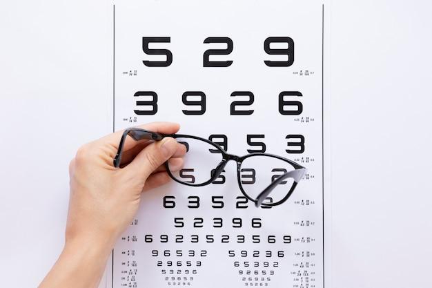 Tabela de números para consulta de óptica