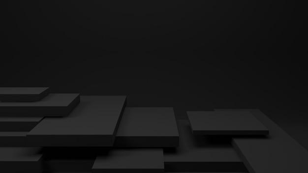 Tabela preta ou prateleira escura na parede para o produto presente, renderização em 3d