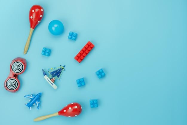 Tabela vista superior decoração criança brinquedos