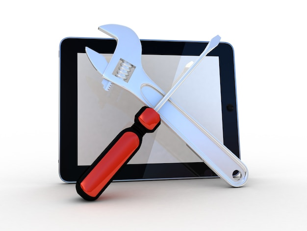 Tablet com ferramentas em um fundo branco, 3d
