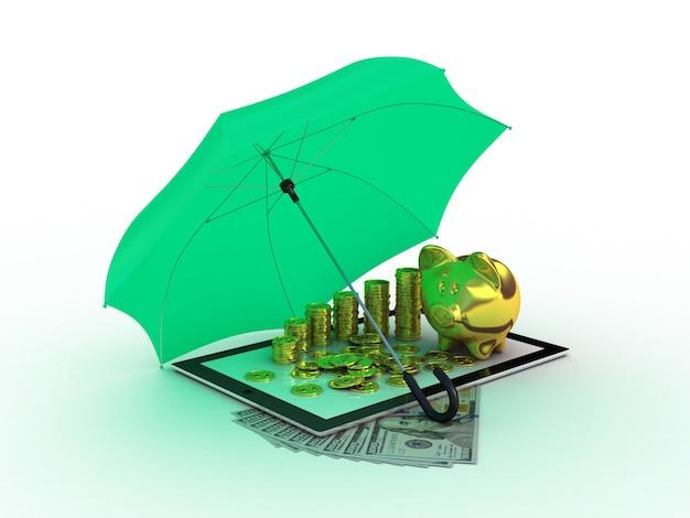 Tablet com porquinho dourado sob o guarda-chuva. ilustração 3d