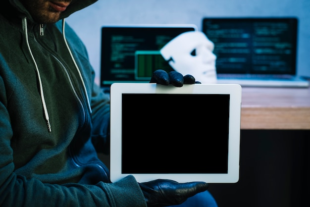 Tablet de exploração de hacker