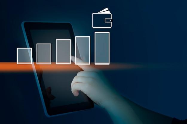 Tablet de mão de homem com rede na tela