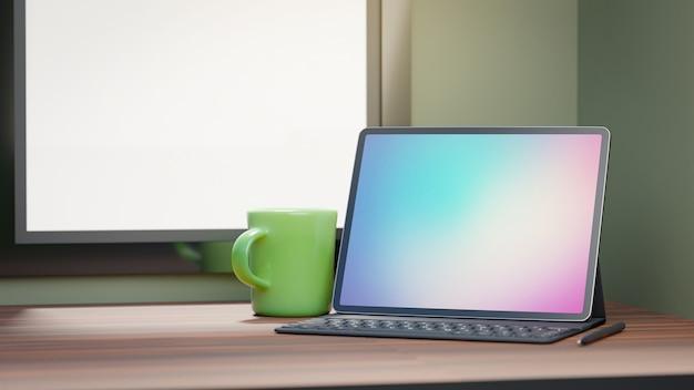 Tablet de tela grande com teclado de caixa e xícara de café verde colocada na mesa de madeira e fundo de janelas. imagem de renderização 3d.