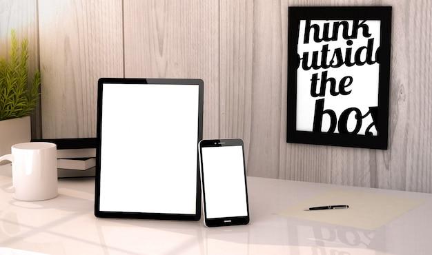 Tablet desktop e mock-up do telefone