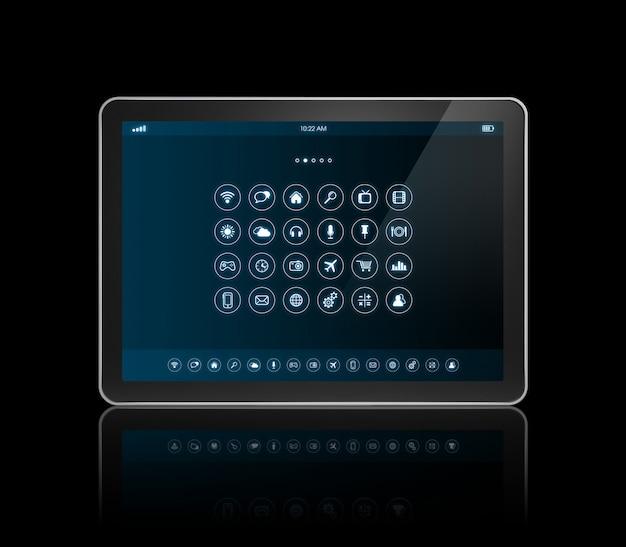 Tablet digital com interface de ícones de aplicativos