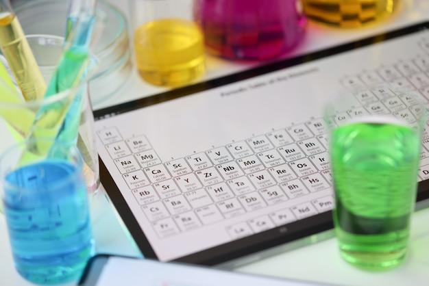Tablet digital com sistema periódico de elementos deitado na mesa, em laboratório, verificando.