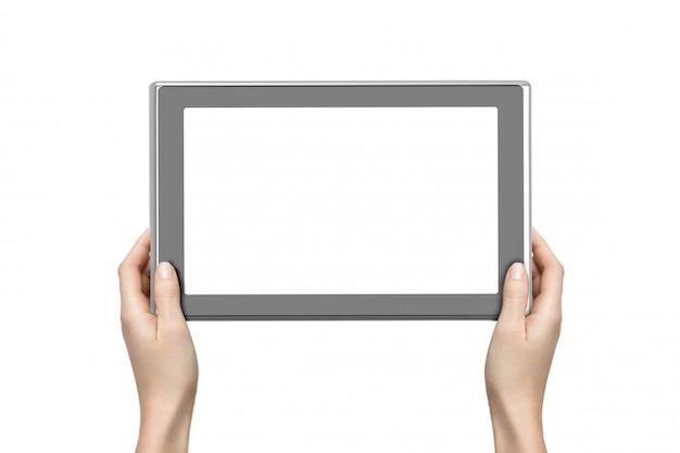 Tablet digital de exploração de mulher