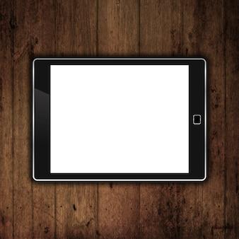 Tablet eletrônico genérico 3D em um fundo de madeira do grunge