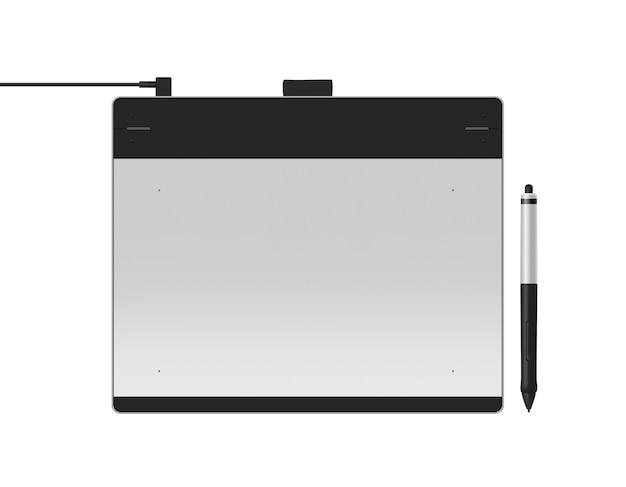 Tablet gráfico com ilustração de caneta