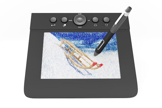 Tablet gráfico digital com caneta e trenós desenhando em um fundo branco