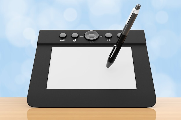 Tablet gráfico digital com caneta sobre uma mesa de madeira. renderização 3d.