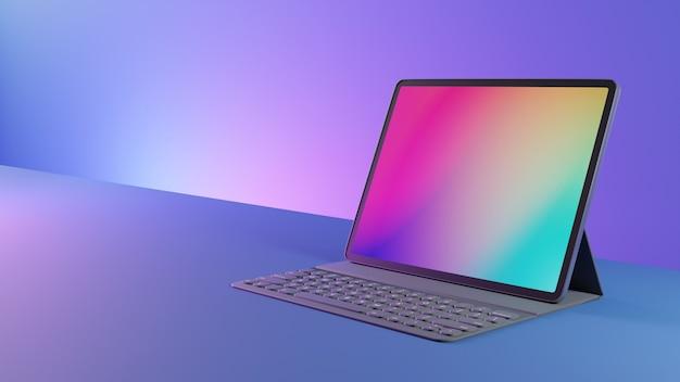 Tablet inteligente com teclado colocado em fundo rosa azul. imagem de renderização 3d.