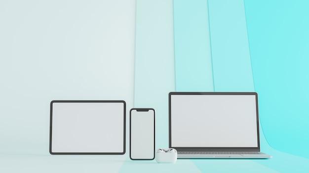Tablet laptop e smartphone com tela de maquete isolada em fundo azul renderização 3d