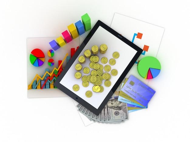 Tablet mostrando uma planilha e um papel com gráficos estatísticos, cercados por alguns gráficos 3d